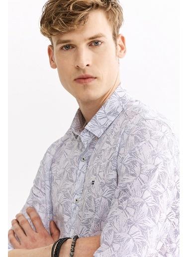 Avva Erkek  Baskılı Alttan Britli Yaka Gömlek A01Y2128 Beyaz